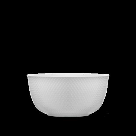 Lyngby - Rhombe Serveringsskål - Ø 21,5 Cm. Hvid