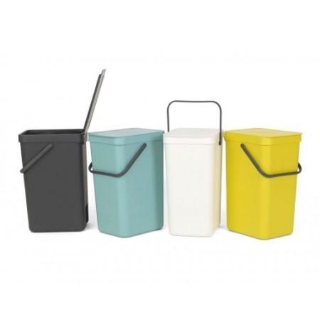 Brabantia - Affaldsspand m/ Låg - Affaldssortering 16 Liter - Hvid