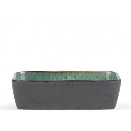 BITZ - Fad rektangulær 33 x 21 x 7,5 cm - sort/grøn