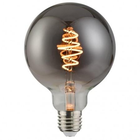 Modelnavn: E27 5W G95. Spænding (Volt): 230. Fatningstype: E27. Glasfarve: Røgfarvet glas. Primært materiale: Glas. Højde (cm): 14. Diameter (cm): 9.5.