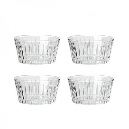 Aida - Relief Glas Snack Skål - 4 Stk. 11,5 X 6 Cm.