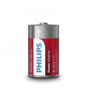 Philips Batterier (D) LR20 Power Alkaline Batteri 1,5V - 2 stk.