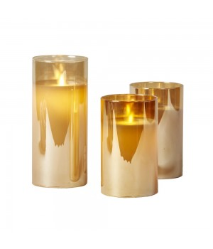 Glas LED Vokslys I Guldfarve 3 Stk. H: 12,5, 15 Og 17,5 Cm.