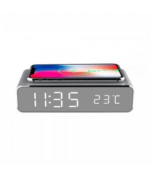Conzept - Digital Alarmur Med LCD Display - Trådløs Qi Opladning Af Telefon