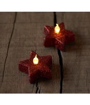 Sirius - Stjerne Fyrfadslys Til Batteri - 6 Stk. Rød Glimmer