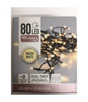 Lyskæde 80 Varm Hvid LED-Lys - 6 Meter.