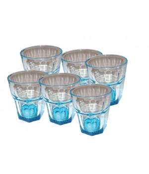 Atelier Granit Glas 28cl. 6 stk med blåt glas