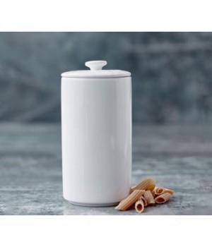5722008218632-Blomsterberg Krukke Med Låg Hvid porcelæn Højde:18 Centimeter.