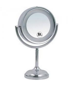 Make-Up Spejl På Fod - Med Lys Og 5 X Forstørrelse.