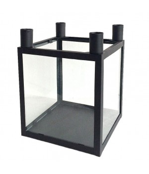 5705724020666-Conzept Lysestage Sort Med Glas Til 4 Lys 16X16X21 Centimeter