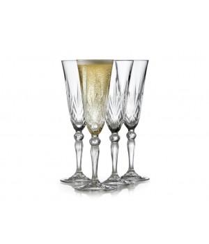 Lyngby Glas - Krystal Melodia Champagneglas - 16 Cl. 4 Stk.