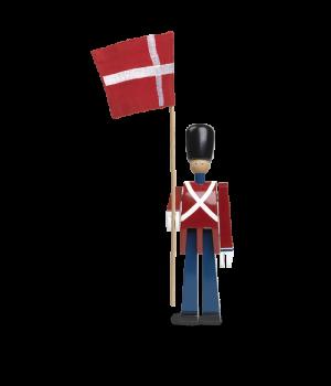 Kay Bojesen Fanebærer Med Tekstilflag - Malet Bøgetræ 22 Cm.