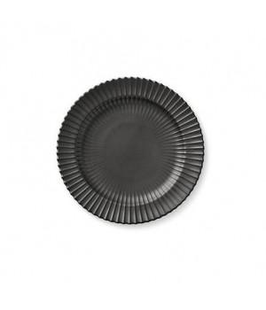 5711844102205-Lyngby Frokost Tallerken - Mat Sort Porcelæn - Diameter: 20 Centimeter