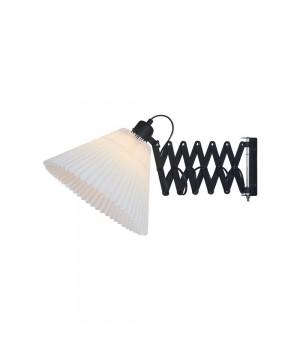 Halo Design - Medina Sax Væglampe - Ø 33 Cm. Sort Med Hvid Plissé Skærm