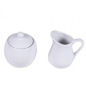 Sukkerskål Og Flødekande I Hvid Porcelæn